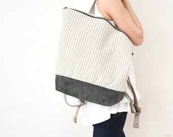 Canvas stripes backpack white gray woman backpack Lilyleau