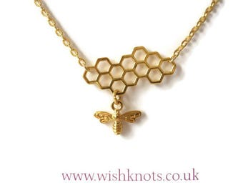 Honey Bee Necklace / Beehive Honeycomb Pendant / Gold Plated Bee Hive Necklace /Layering Jewellery / Beekeeper Gift / Hexagon / Wish Knots