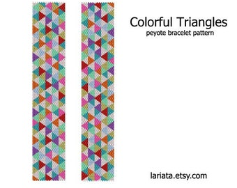 Colorful Triangles - Peyote Bracelet Pattern INSTANT DOWNLOAD