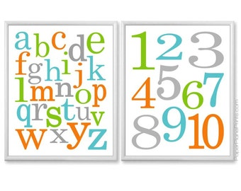 Alphabet Art, Teal Aqua Orange Green Grey ABC 123 Baby Wall Art, Alphabet and Numbers Playroom Art, Childrens Prints 8x10 or 11x14