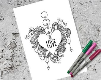 Love Heart Colouring Page & Folded Card | Instant Digital Download | Original Doodle Design