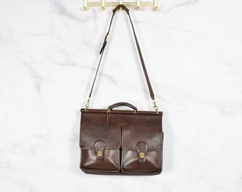 Coach 'Kensington' Briefcase Attaché Satchel in Brown Leather with Brass Hardware
