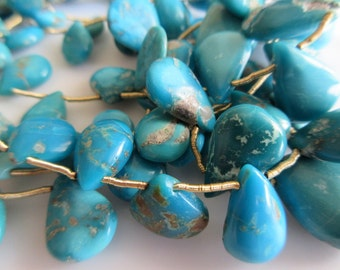 Natural Sleeping Beauty Turquoise Beads, Pear Beads, Arizona Turquoise, Approx 20mm To 7mm Beads, 15 Pieces Approx, SKU-0290