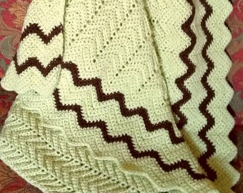 Vintage Hand Crocheted Chevron Pattern Baby Blanket in Pastel Green & Chocolate Brown
