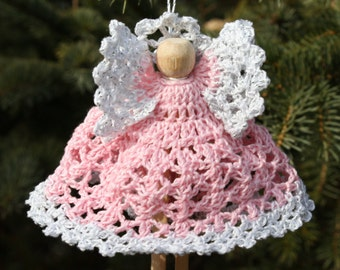 Pink Crocheted Clothespin Angel