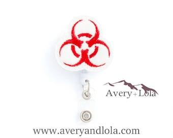 Biohazard Badge Reel, Biohazard ID Holder, Lab Badge Reel, Nurse ID Holder, ID Badge Holder, Teacher Gift, Nurse Gift