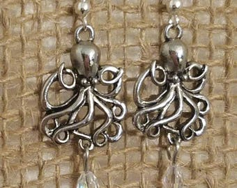 Octopus earrings. Octopus dangle earrings. Octopus jewelry. Octopus accessories. Octopus with irridescent bead. Octopus with charcoal bead.