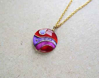 Purple Necklace Lilac Red Necklace Handpainted Lavender Necklace Lilac Jewelry Art Nouveau Necklace Purple Jewelry Lilac Purple Pendant
