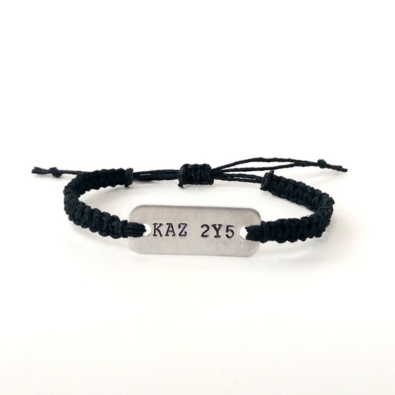 supernatural license plate KAZ 2Y5 stamped bracelet // adjustable hemp bracelet