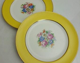 Johnson Brothers Pareek luncheon plates floral center sunny yellow borders David Collamore, New York - 2