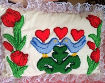 Bluebirds, Tulips and Hearts Punchwork Needlepunch Pillow With Roses On Back &Lace Trim