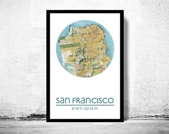 SAN FRANCISCO - city poster - city map poster print