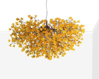 Chandelier Lighting, Yellow flowers chandeliers, hanging lamp, flowers lights for Dining Room, statement lighting
