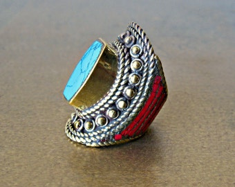The Wisdom Ring ~ Vintage Tibetan Turquoise and Coral Ring set in Brass ~ Bohemian Jewelry