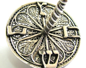 Unique, Hanukkah Dreidel, 925 Sterling Silver, Filigree, Hanukkah Gift, Judaica, Jewish Holiday Gift, Hanukkah Game, Silver Dreidle, ID951