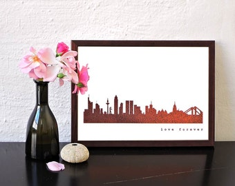 FRANKFURT city poster, Frankfurt skyline print, copper art pster, Frankfurt for Newbies, Frankfurt Gift, Home Decor, Copper foil city print