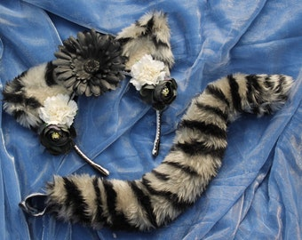 Snow Tiger Faux Fur Floral Cat Ears and Tail, Tabby, Kitty, Cosplay, Furry, Costume, Accessories, Kawaii