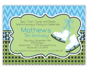 Ice Skating Invitation - Blue Chevron, Green Squares, and Cute Boys Ice Skates Personalized Birthday Party Invite - a Digital Printable File