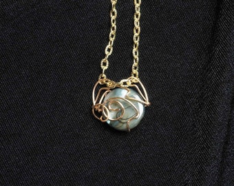 """Necklace, """"Lunar,"""" wire-wrapped, iridescent mother-of-pearl pendant, petite pendant, gift for her"""