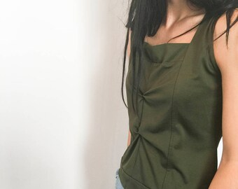 Vintage Olive Green Top, Sleeveless Vintage, Vintage Women's Clothing, Vintage Tank, Vintage Clothing, NZ Vintage, New Zealand, Women's Top