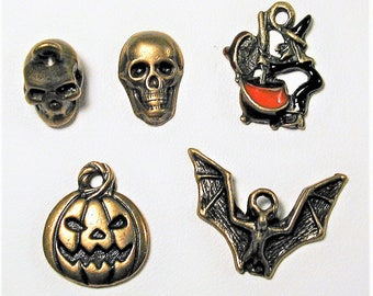Halloween Inspired Bromze Charm Collection 5pc  C156