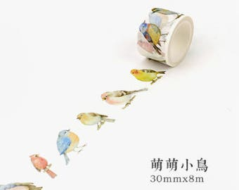 Birds - Bird washi tape - Animal Washi Tape - Little Birds - Bird Print (30mm X 8m)