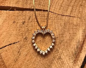 "14K Yellow Diamond Heart Pendant 1.00 CT TW SI2 HI 18"" chain"