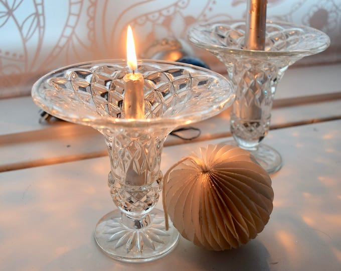 Featured listing image: Pair of elegant and perfectly fabulous pressed glass vintage candle holders, wedding top table, wedding gift, dinner party, dinner for two,