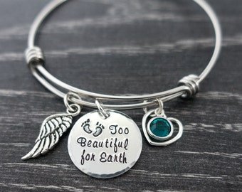 Wire Bangle / Too Beautiful for Earth / Miscarriage Jewelry / Infant Loss / Mommy of an angel / Personalized Hand Stamped Wire Bracelet