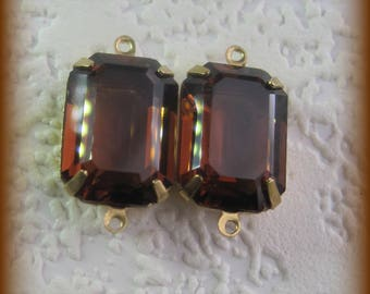 24MM, 2 Ring, Swarovski Crystal, Smoked Topaz, UF, Rectangle, Octagon, Rhinestone, Brass, OB, 4 Prong, Setting, Connector,