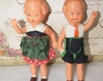 2 EDI Germany Boy and Girl Dolls .Vintage late 1930 German Celluloid. Vintage dolls