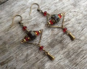 Womens earrings, Fashion earrings, Bohemian earrings, Boho earrings, Czech glass earrings, Deep Opaque red picasso beads, red beads, brass.