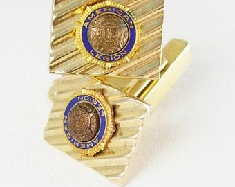American Legion Swank Cufflinks Vintage Small Blue Enamel fraternal mens gold gift