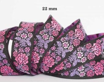 Jacquard ribbon * flowers * 22 mm wide