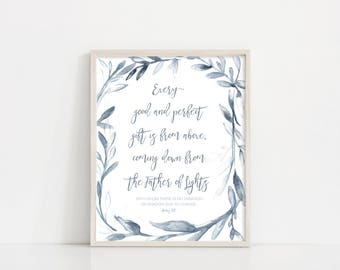 """Every Good And Perfect Gift - James 1 17 - Watercolor Wreath - Nursery Baby Room - 8x10"""" Digital Print - Printable Art - INSTANT DOWNLOAD"""