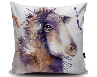 Sheep Illustration Cushion, Vegan-Suede by Katherine Williams | Sheep Pillow | Ram Cushion Cover | Sheep Watercolour Gift Housewarming