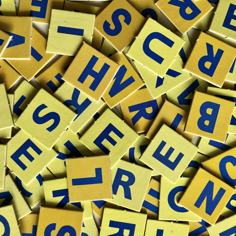 Letter Squares Tiles Scrabble Alphabet Yellow Blue Game Pieces ...