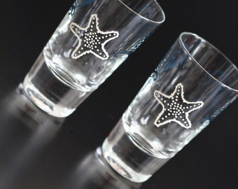 In Stock Starfish Shot Glasses Shooters Liqueur Personalized Beach Destination Nautical Seaside Ocean Wedding Mr Mrs Bride Groom Blue Ivory