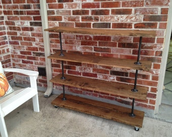 Rolling shelving cart with four shelves. Industrial farmhouse clothes storage made, Retail display fixture, shoe and towel rack, Modern cart