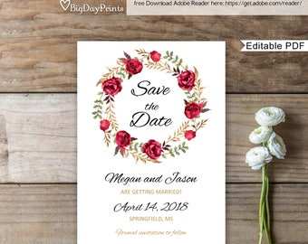 Save the Date Template, Red Floral Wedding Save the Date, Save the Date Printable, #A015, Instant Download, Editable PDF