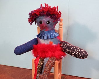 Blue scrap ART doll