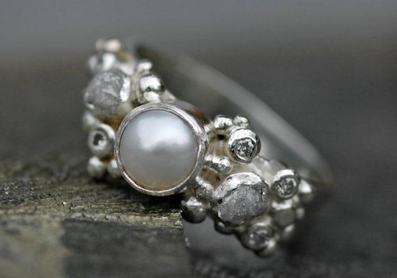 Rough Diamond, Diamond Melee and Pearl Engagement Band- Custom Made Custom Colour