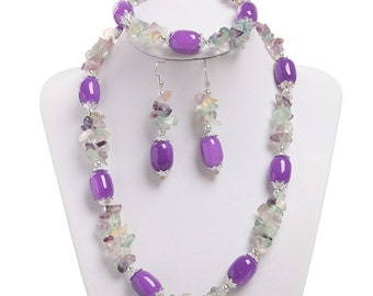 """lilac spring Kit, fluorite, natural stone, necklace, earrings, bracelet"