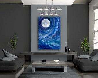 Full moon canvas print (extra large) of fantasy acrylic painting - cobalt blue, purple, green, white by Kauai Hawaii fine artist Donia Lilly