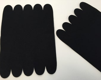 Wool Felt, Penny Rug, Unfinished Blank, Black, Set of Two, Primitive Stitchery, Wool Applique, Table Mat, Small Runner, Wool Background
