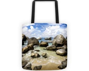 Beach Coastal Market Bag Tropical BVI Reusable Grocery Bag Printed Tote Farmers Market Shoulder Bag Shopper Tote Eco Friendly Canvas Bag