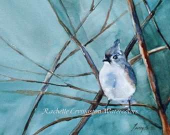 for her bird art painting bird print bird art print ATC watercolor painting of titmouse blue brown traditional SMALL Artist Trading Card