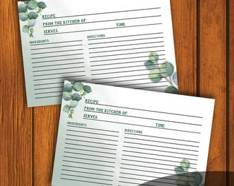 3.5x5 Wedding Recipe Card / Recipe Card / Bridal Shower Recipe Card / Eucalyptus Watercolor Recipe Card / Instant Download / 3.5x5 Recipe