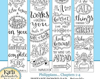 PHILIPPIANS Bible Journaling Templates, Tracers, Color Your Own Bookmarks, INSTANT download pdf and jpg Scripture Digital Printable