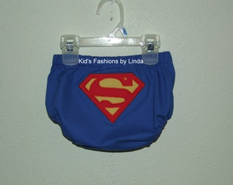 Blue  Diaper Cover with Superman Logo
